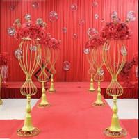 89CM Höhe Blumenstand Hochzeit Mittelstufe Kulissen Gang Gang Bodenvase Metallsäule Straße Blei Foto Requisiten Gold weiße Farbe