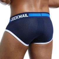 JOCKMAIL 새로운 디자인의 브랜드 남성 언더웨어 브리프 슬립 메쉬 반바지 Cueca Gay men 언더웨어 섹시한 남성 팬티 통기성 코튼