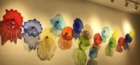 Sıcak Satış El Duvar Dekorasyon Stil Çok renkli Murano cam Asma Tabaklar Duvar Sanatı Özelleştirilmiş Renk Boyutu Cam Tabaklar Üflemeli