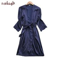 Fdfklak Sexy шелковый халат женщины весна лето кружевные халаты женский халат повседневная пижама ночная рубашка подружки невесты халаты