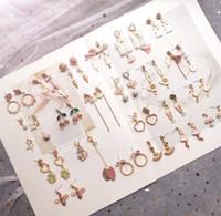 Мотаться Chandelie Рождественский Подарок девушка сердце розовые серьги милые животные вишневые серьги маленькие Модные Серьги Мотаться для Женщин W66