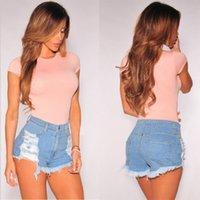 Новая мода лета женщин Сплошной Hole Ripped высокой талией джинсовые шорты джинсы Горячие синий тонкий брюки