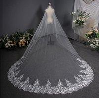 Bianco Avorio Cattedrale Lunghezza pizzo Appliqued musulmano Bridal veli da sposa con pettine 2019 Accessori da sposa da sposa Velo