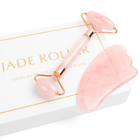 Jade Roller للوجه ، 2 في 1 Jade Roller Massager Set بما في ذلك روز كواترز و Gua Sha Scraping Tool ، Jade Face Face Anti Aging Face