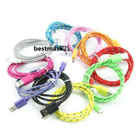 Cell Phone cables 1m 2m 3m Round Fabric Braided Nylon Data Sync USB Cable 3Ft 6Ft 10Ft Cord Charger Charging