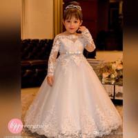 Vestito da ragazza del fiore della principessa dell'annata di trasporto libero 2019 Maniche lunghe del collo del merletto della barca di alta qualità Abbastanza bambini Primo vestito da comunione