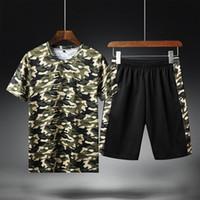 Yaz Rahat Erkekler Ince Set Erkekler Eşofman Kamuflaj Baskılı T Shirt Şort Spor Takım Elbise Erkek Eşofman