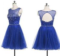 간단한 쉬어 목 짧은 졸업 댄스 파티 드레스 저렴한 로얄 블루 Tulle Keyhole 뒤로 라인 스톤 페어리 귀염한 동네 파티 드레스 저렴한