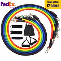 NAVIO DOS EUA 11pcs / set Tração da corda Fitness Exercícios faixas da resistência Crossfit Latex Tubes Pedal Excerciser Formação Corpo Workout Yoga