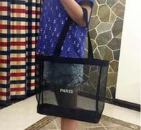 Clássico! HOT compras logotipo branco malha saco padrão de luxo Travel Bag Mulheres Wash Bag Cosmetic Makeup armazenamento de malha Caso