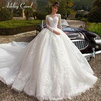 O-목 긴 소매 볼 가운 웨딩 드레스 2020 럭셔리 로얄 기차 레이스 공주 꿈의 빈티지 웨딩 드레스