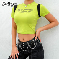 Darlingaga Cotton Neon Green Tshirt Cropped Harajuku Manica corta T-shirt per le donne Vestiti Lettera Crop Top Tee Shirt Femme Nuovo