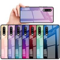 Градиент Радуга чехол для телефона Huawei P30 Pro P Smart 2019 витражное закаленное стекло чехол для Huawei P20 Lite Nova 3 Mate 20