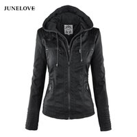 JuneLove Frauen hoodies Winter Moto Jacke Hot Turn Down Collor Damen Oberbekleidung Kunstleder PU weibliche Jacke Mantel