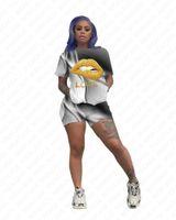Donne Tuta gradiente colori di stampa Lips maniche corte T Shirt Designer Pantaloncini insieme a due pezzi Outfits sportiva casuale del vestito 3color D7206