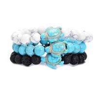 Лето Стиль Морские черепахи Бисер браслеты для женщин Мужчины Классический 8мм Turquoise Лава камень Упругие браслет дружбы Бич Jewelry