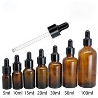 검은 모자 5ml를 10ml의 15 ㎖ 20ml의 30ML 50ML 100ml의 앰버 유리 스포이드 병 E 액체 주스 병 아이 드롭퍼 유리 병
