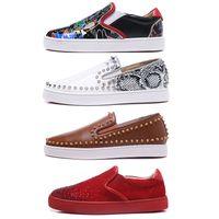 Botines rojos de lujo para hombre, zapatos de mujer, gamuza con tachuelas, tachuelas, mocasines, remaches, diseñador, planos ocasionales, barco, vestido de mujer, suelas de marca