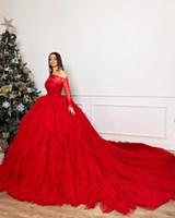 Урожай Красный Длинные рукава бальное платье Вечерние платья Luxury с плеча вечера Quinceanera платье Формальная партии Pageant платье