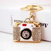 Creative cristal de diamant en forme de caméra métier de porte-clés petit pendentif en métal cadeau cadeau
