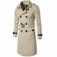 Trenchs de Hommes Trenchs Hommes Trenchcoat Style Britannique Classic Manteau Jacket Double boutonnage Longue Slim Twewear Réglable Ceinture en cuir