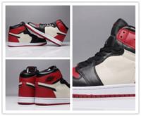 promo code 42edc 099b4 Nike Air Jordan 1 Hohe OG Mens Basketball Schuhe Verboten Bred Toe Shadow  Gold Top Beste