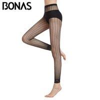 BONAS Collant Donne legging nero ad alta elasticità della signora Nylon Stripe Lace delle donne sexy a rete senza piedi