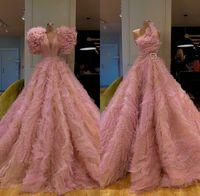 Nouvelle arrivée magnifiques manches longues rose robes de soirée 2019 robe de bal sexy Tulle robe de soirée formelle Robes de soirée Abendkleider
