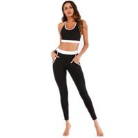 Solid color Women Yoga Set Splice Running Set Bra+Leggings Sports Suit Vintage Sports Clothing Gym Tracksuit