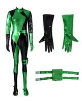 Nieuwe Shiny Metallic Kim Mogelijke Shego Bodysuit Jumpsuit Cosplay Kostuum
