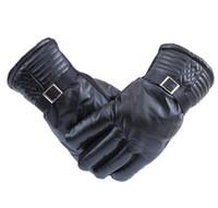 Mode hommes noirs à l'automne et l'hiver vent vélo escalade en plein air des gants en cuir chaud gants PU gros