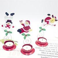 3 Arten Nette Kerzenhalter Legierung Anta Claus Schneemann Deerlet Kerzenhalter Farbige Zeichnung Kandelaber Ornament Weihnachtsfeier Decorati