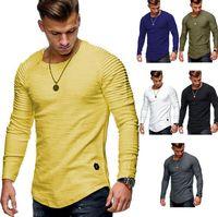 Frühlings-Art Mens Designer T-Shirt beiläufigen Solid Color Langarm-T-Shirt mit Rundhalsausschnitt dünnen Grund Artmens Kleidung