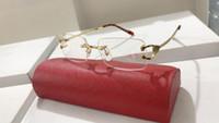 Großhandel-mode Sonnenbrillen Brillen Randlose Frames Optische Sonnenbrille Metallbeine Rahmen Marke Designer Gläser mit Etui und Kasten