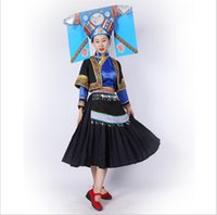 8a393d9e2 Asian China Laos Vietnam Thailand Ethnic Minority Dance Costume Miao  Nationality Women's Clothing Hmong Minority Outfit Hat + Dress