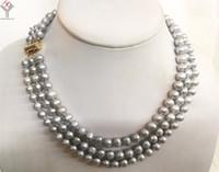 8933b4d5c172 Collar para mujer 7x8mm perla gris hecha a mano 3 hileras collar completo  natural perla cultivada de agua dulce