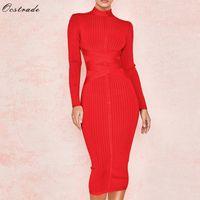 Ocstrade Nouvelle arrivée 2019 Femmes Midi Bandage Robe rouge sexy col haut à manches longues moulante Robe Bandage Rayonne Party Robes Y200102