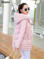 New Light chaud mince à capuchon Plus Size Coat Long Down Jacket Femmes d'hiver 2018 Vêtements pour Mujer Pardessus Slim Jacket solide