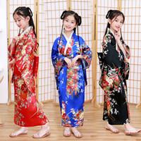 Vestido de los trajes japoneses muchachas del estilo tradicional kimono niños original Ao Dai Yukata boda Los niños bailan Haori Harajuku Cosplay