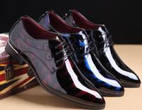 Marque LSPU Toe brillant Hommes Pointu Chaussures lacées d'affaires respirante Oxfords Casual Mode Chaussures en cuir Hommes Big Plus Taille 38-48