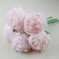 5 chefs Accueil Pivoine de fleurs artificielles Décoration de Noël en soie Real Touch Pivoine Fausse fleur de soirée de mariage Nouvel An cadeau floral