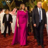 Simple Fuchsia Mermaid Robes de soirée avec enveloppe Jewel Col Islamic Dubaï Kaftan Saoudien Arabe Arabe longue Longue robe de balayage