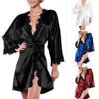 Las mujeres de la ropa interior atractiva del verano del satén del traje ropa de dormir ropa de dormir de la ropa interior Dress G-String Negro Blanco más el tamaño S-2XL