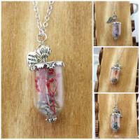 Sobrenatural Angel Wing Leaf Rock Salt Bottle Protection Glass Real Dry Flower bottle collar