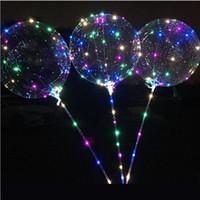 LED blinkt Bobo Kugel mit 70cm-Stick 3M String Ballon Transparent Luminous Lighting Up Ballone für Brithday nach Hause Wedding Partei-Dekor