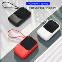 Марка Портативный 15W Mini Power Bank 10000mAh Быстрая зарядка Power Bank Встроенный в кабель USB Внешняя батарея для iPhone Samsung Huawei Xiaomi