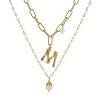 Anhänger Halsketten Natürliche Süßwasser Barock Perle Halskette Für Frauen Gold Farbe 26 A-Z Big Letter Name Anfang Halsketten1