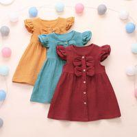 1-6Y Bebek Kız Bebek Çocuk Keten Elbise Ruffle Kol Bow Güzel Bir Çizgi Elbise Kıyafet Yaz Giyim En Satıldı