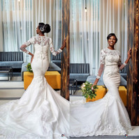 2020 africano Plus Size Mermaid Abiti da sposa a maniche lunghe Appliqued merletto in rilievo di cristallo sweep treno Wedding Gowns