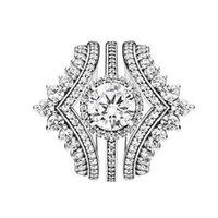 1 Lüks HALKA 3 Orijinal kutusu ile Pandora 925 Gümüş yüzük için Prenses İstek Halkalar Yuvarlak Sparkle Halo yüzüğü set
